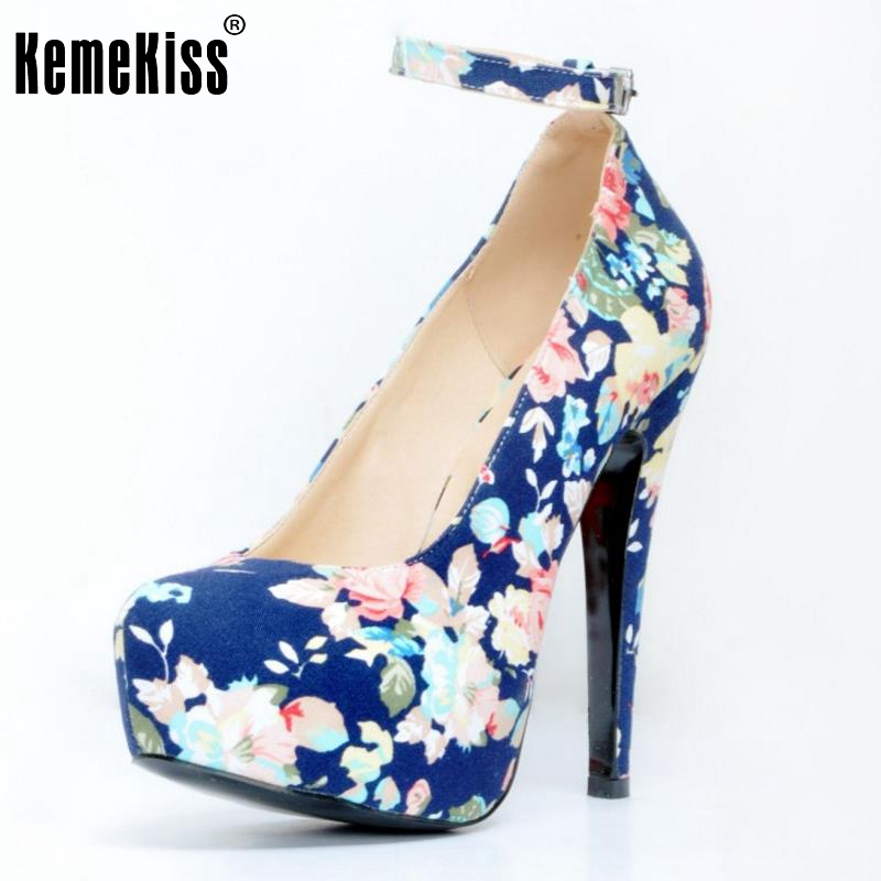 New Fashion Women Round Toe Platform Shoes Woman Brand Floral High Heel Pumps Ladies Ankle Wrap Wedding Shoes Size 34-47 women elegant black blue red suede silk bowtie round toe platform 3 inch high heel deep single shoes ladies pumps for woman