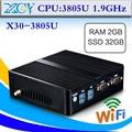 Mini PC Com Adaptador De Alimentação, 3805, DDR3 2G RAM 64G SSD, Fanless Motherboard Pode Externo disco Rígido, suporte Windows 8.1 Computador Jogo