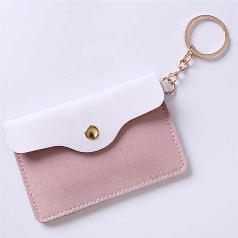 1 ADET Kadınlar Kız Şık Deri kimlik kartı tutucu Kart Çantaları Rozeti Anahtarlık Anahtarlık Cüzdan 4 Renk