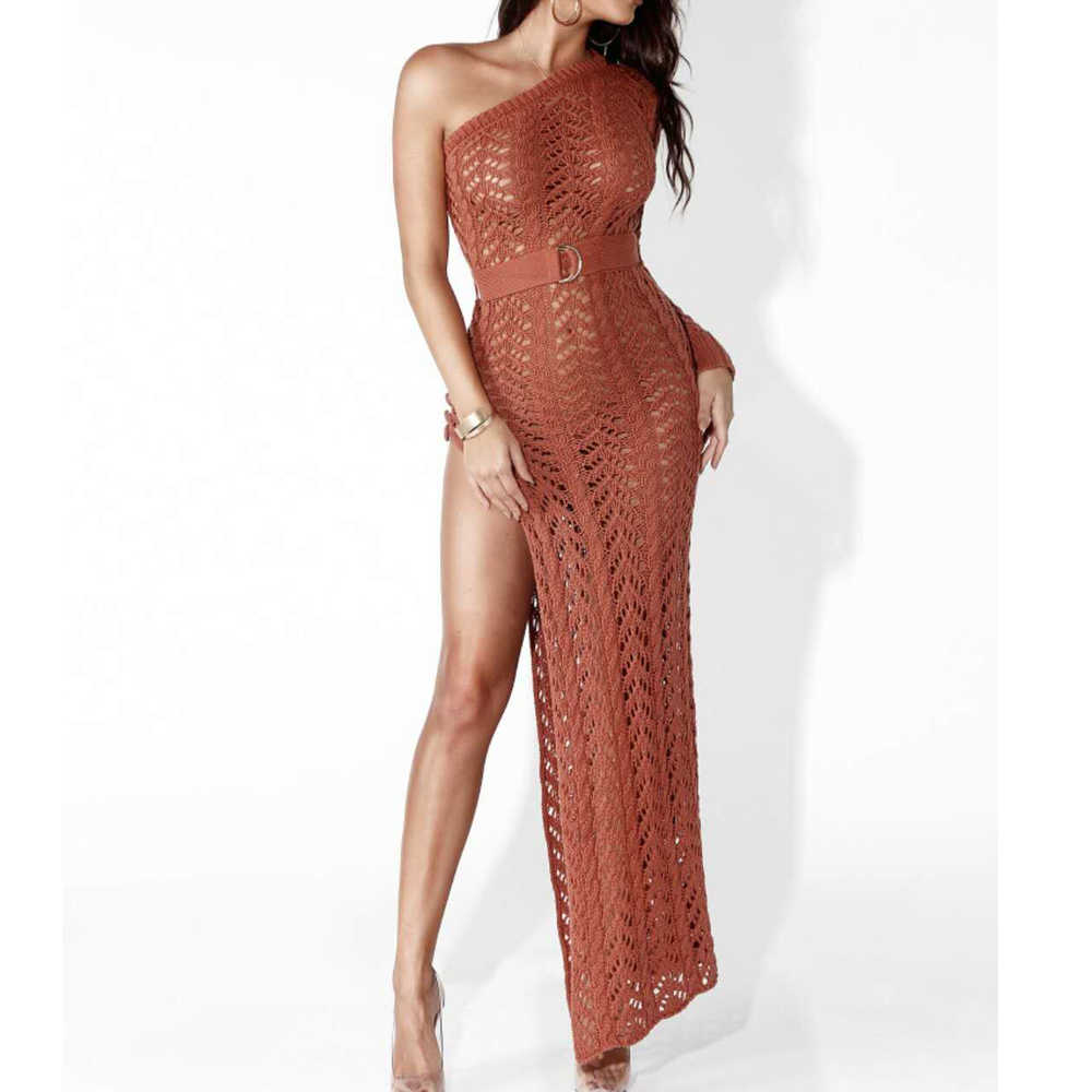 Missord 2019 Zomer Sexy Off Shoulder Gebreide Een Schouder Hoge Split Hollow Out See Through Elegante Bodycon Jurk FT9086