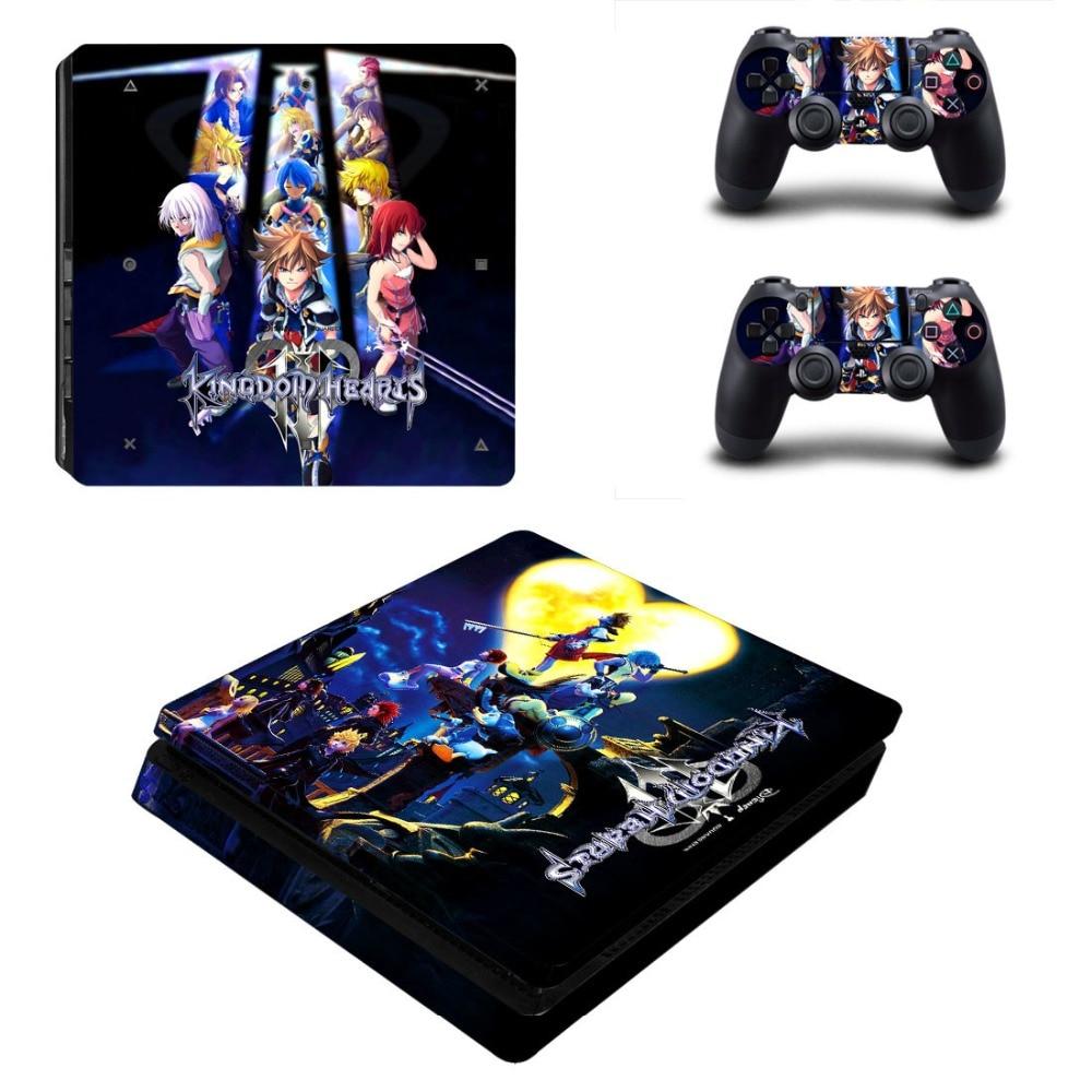 Купить с кэшбэком Kingdom Hearts 3 PS4 Slim Skin Sticker For Sony PlayStation 4 Console and 2 Controllers PS4 Slim Sticker Decal