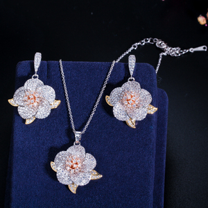 Image 5 - CWWZircons 3 Tone Rose Gold Full Micro Pave Cubic Zirconia Ladies Flower Pendant Necklace and Earrings Jewelry Sets T063