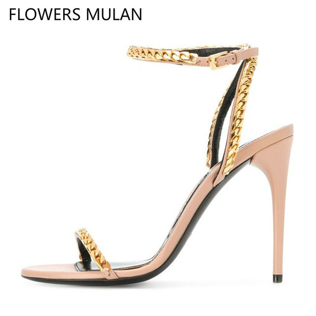 b52bf726d85a Metallic Gold Curb Chain Embellished Leather Sandals Women Gladiator High Heels  Open Toe Ankle Wrap 2018 New Fashion Women Shoes