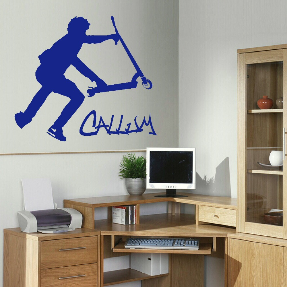 Custom Home Decor: Extra Large Scooter Stunt Custom Wall Decals Vinyl