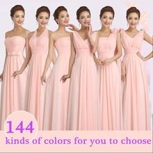 peachy pink bridesmaid dress long chiffon cheap winter wedding party prom dresses  de festa de casamento dama de honra