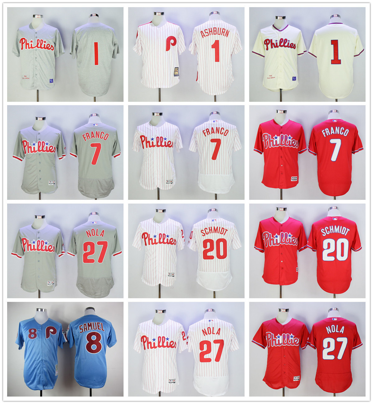 MLB Mens Philadelphia Phillies Aaron Nola Maikel Franco Richie Ashburn Mike Schmidt jerseys