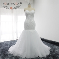 Rose Moda Luxury Lace Mermaid Wedding Dress With Detachable Royal Train White Ivory Over Nude Corset