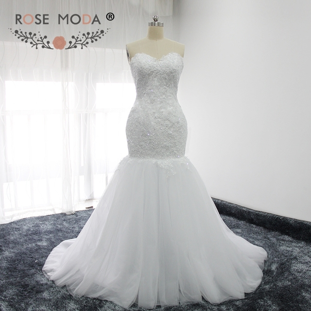 Rose Moda Luxus Spitze Meerjungfrau Hochzeitskleid mit Abnehmbarem ...