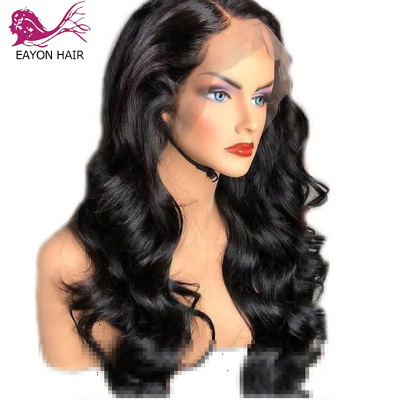 EAYON 13x6 Wavy Lace Front Human Hair Wigs For Women Natural Black Peruvian Remy Human Hair Pre Plucked With Baby Hair