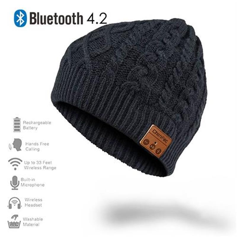 Best Christmas Gift Wireless Bluetooth 4.2 Music Hat Cap with Stereo Headset Headphone Earphone Speaker Mic Support TF Card wireless bluetooth music beanie cap stereo headset to answer the call of hat speaker mic knitted cap