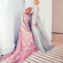 2017 Modest Hijab Formal Dresses Full Sleeves Muslim Coral Tulle Long Evening Dresses With Appliques Abendkleider