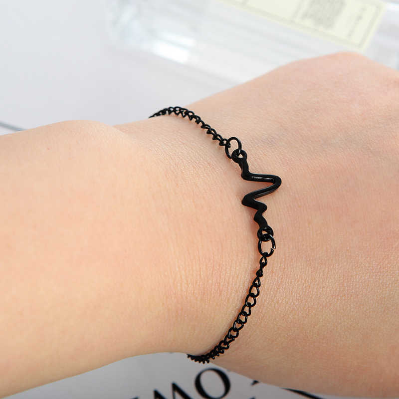 b43bea3da4a ... Hot Arrivals Korean Fashion Hot Simple Waves ECG Heart Rate Lightning  Bracelets For Women & Men ...