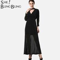 SheBlingBling Glitter Knit Dress Autumn Long Sleeve Surplice Wrap Dress Choker Neck Maxi Dress Fashion High Waist Dress