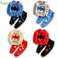 Nuevos Niños de la Llegada Muchachos Fijados Batman Ropa Establece Kids Sport traje Completo de la Manga Top + Pantalones de Niño de Dibujos Animados Ropa para 3-6Y