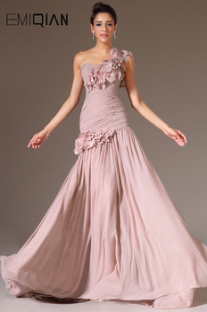 New Fashion One Shoulder with Flowers on Evening Gown Dusty Pink Chiffon Mermaid Dresses - discount item  38% OFF Special Occasion Dresses