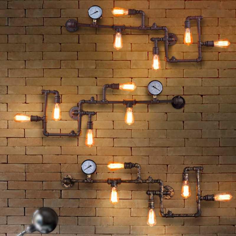 LukLoy промышленные настенные светильники, античная электрическая лампочка эдисона Настенные светильники Винтаж труба настенная лампа для Гостиная бар освещение E27 110 V-220 V