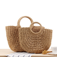 2019 New Summer Handmade Bags for Women Beach Weaving Ladies Straw Bag Wrapped Moon shaped Vacation