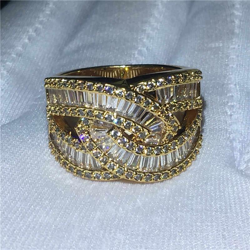 Elegant Cross แหวน T AAAAA หิน Cz 925 เงินสเตอร์ลิงแหวนหมั้นแหวนแต่งงานสำหรับผู้หญิงผู้ชายเครื่องประดับของขวัญ