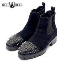 Новые мужские ботинки на высоком каблуке 5 см с заклепками, ботинки челси из матовой кожи на толстой подошве, Мужская Роскошная обувь ручной