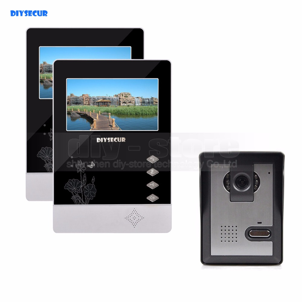 DIYSECUR 4.3 inch Indoor Monitor + 600 TVLine HD Camera IR Night Vision Video Door Phone Video Intercom