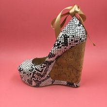 Black And White Snakeskin Women Pumps High Heels Wedges Comfortable Shoes Women Thick Platform Pumps African High Fashion Shoes