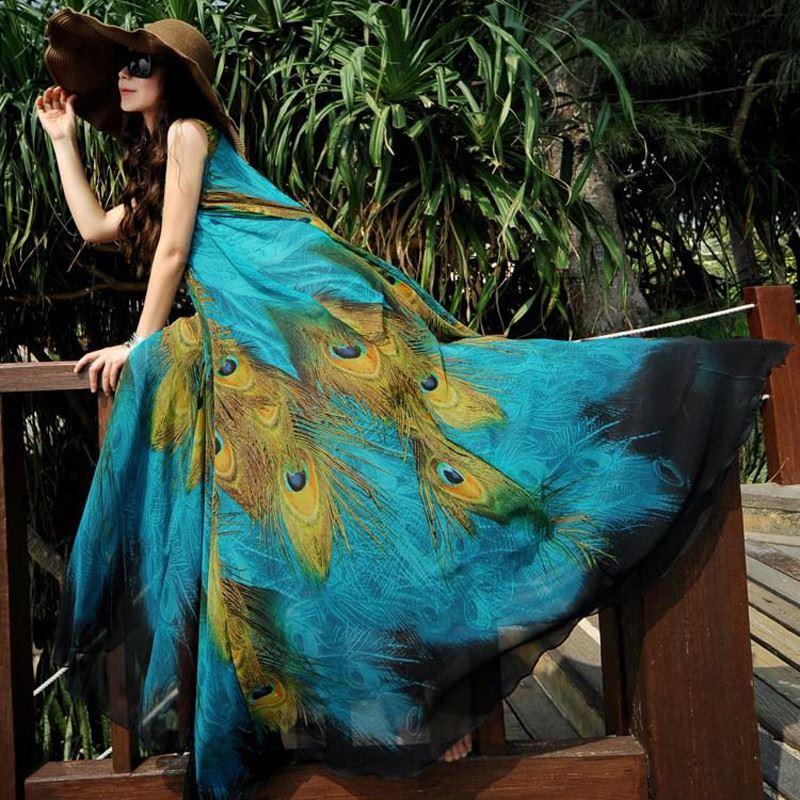 Vestidos 2018 Women Women Sexy Maxi Beach Long Dress O Neck Sleeveless Belt Peacock Printed Chiffon Elegant Dresses Plus Size