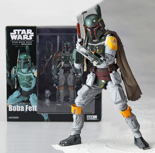 Free Shipping 6 Star Wars Revoltech NO.005 Boba Fett Boxed 16cm PVC Action Figure Collection Model Doll Toys Gift free shipping super big size 12 super mario with star action figure display collection model toy