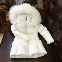 russia Children long down jacket girl winter cold thick coats natural big fox hair collar