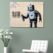 Banksy Street Art Robot HD Canvas Painting Print Living Room Home Decoration Artwork Modern Wall Art Oil Painting Picture Poster футболка print bar street art
