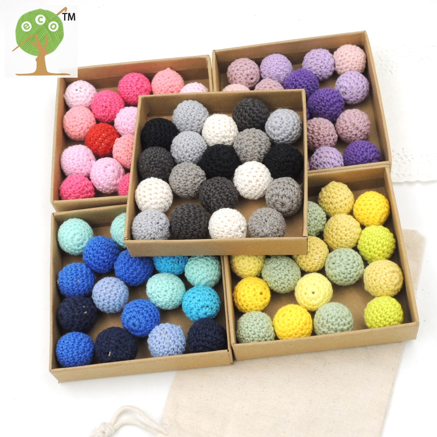 20mm Bead Beads: 60PCS 20mm DIY Wood Crochet Beads,27colors,Handmade