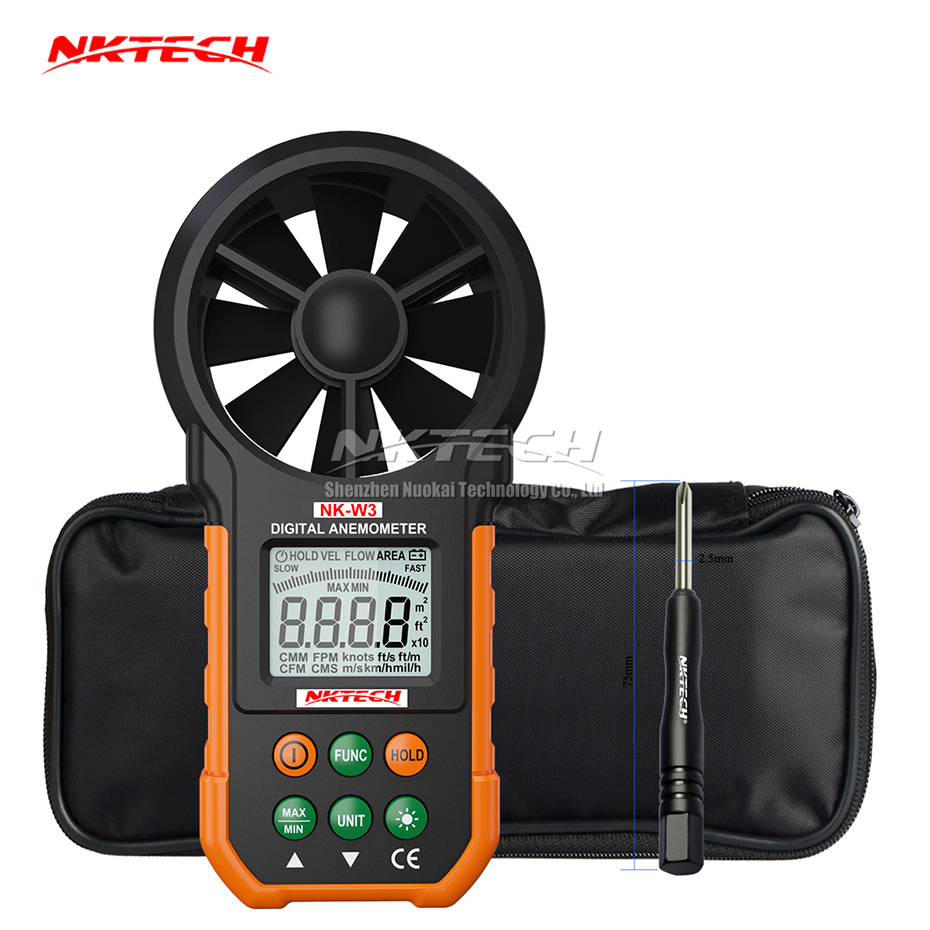 NKTECH Digital Anemometer NK-W3 LCD Backlight Wind Meter Air Volume Tester Gauge With Multifunction Buttons For Flying Sailing ar216 air flow anemometer digital wind speed meter tester