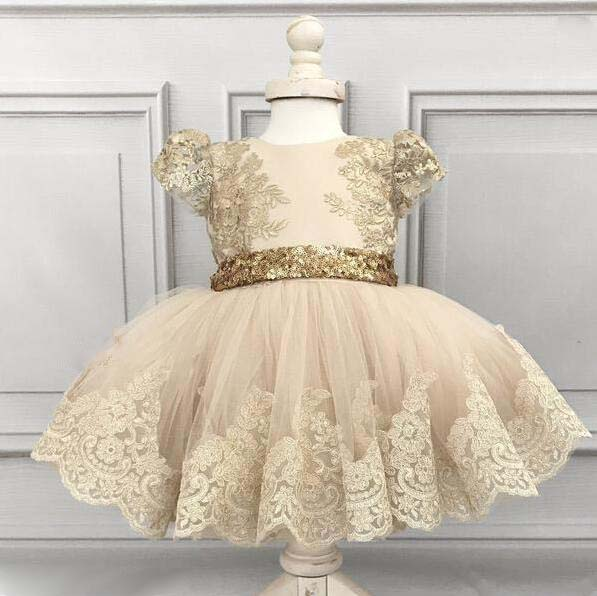 Champagne tutu tulle wedding flower girl dress ball gown baby celebrity birthday party gown with lace trim and golden sequin bow scallop trim cami dress
