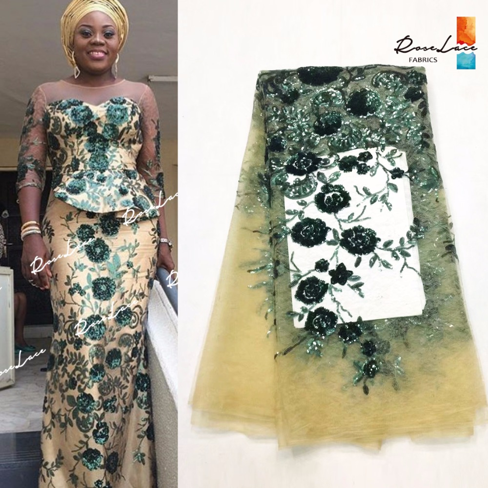 New Nigerian Embroidered Sequined Mesh Lace Fabric Bride Wedding Fabrics In Green Sequins India African Net