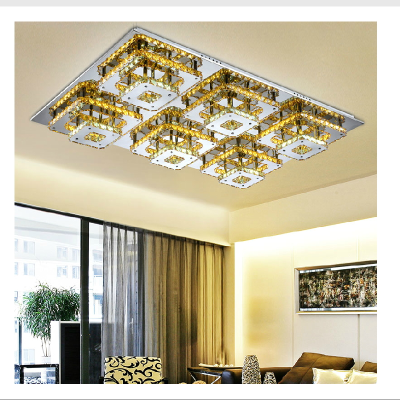 Modern Led Remote Control Square Champagne Crystal Ceiling