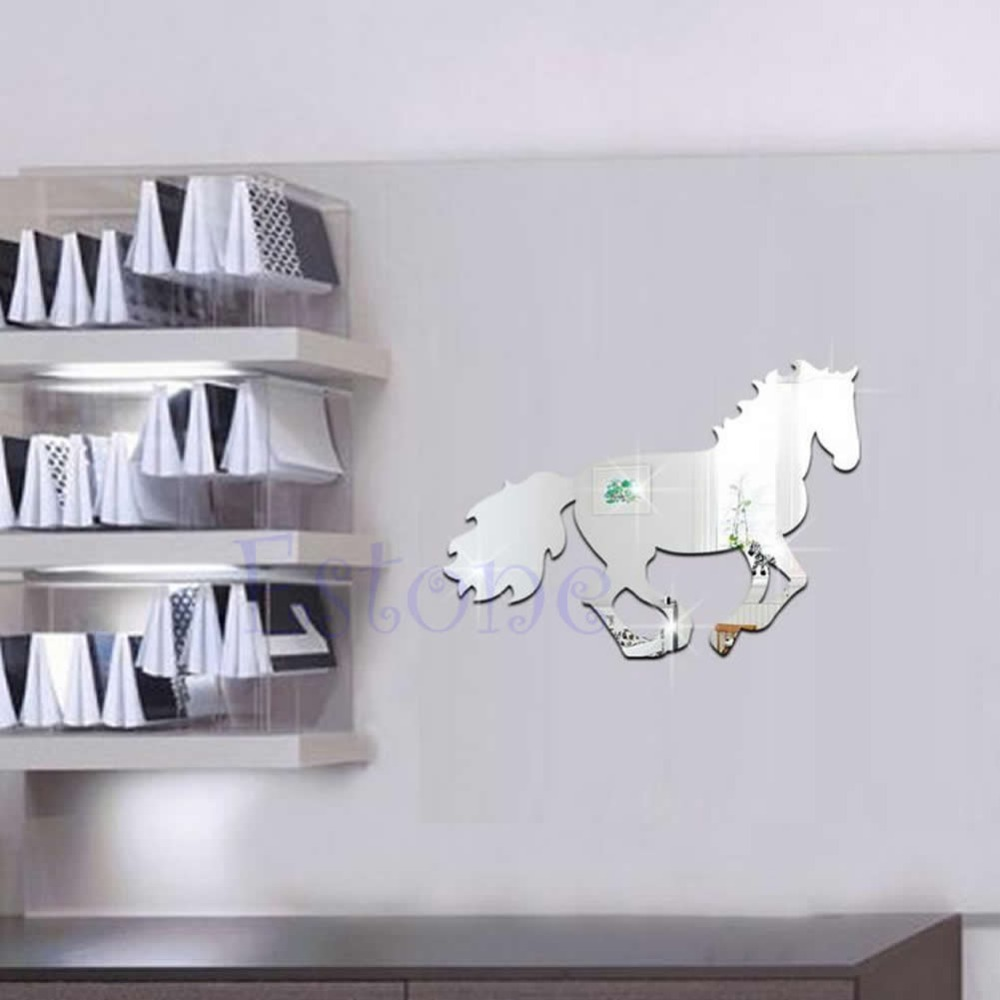 Horse sticker wall art - Fashion Horse Mirror Style Removable Decal Vinyl Art Wall Sticker Home Decor China Mainland