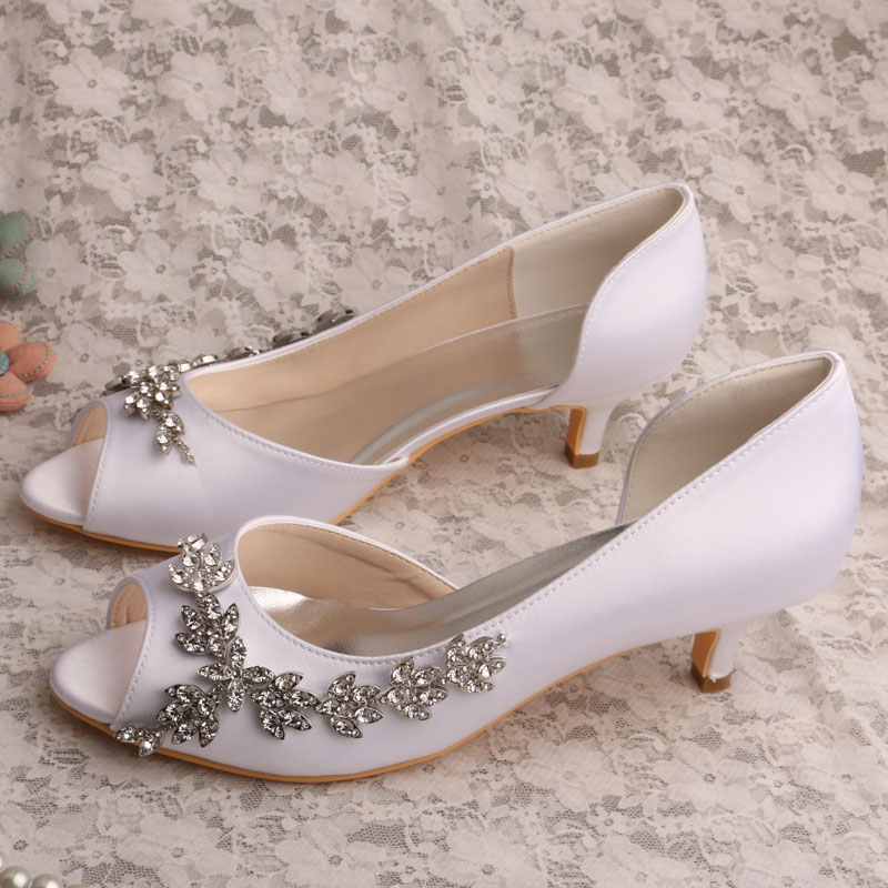 23a8ff8749c Wedopus MW513 Women's Peep Toe Mid Heel Beaded D'orsay Satin Wedding Bridal  Shoes-in Women's Pumps from Shoes on Aliexpress.com   Alibaba Group