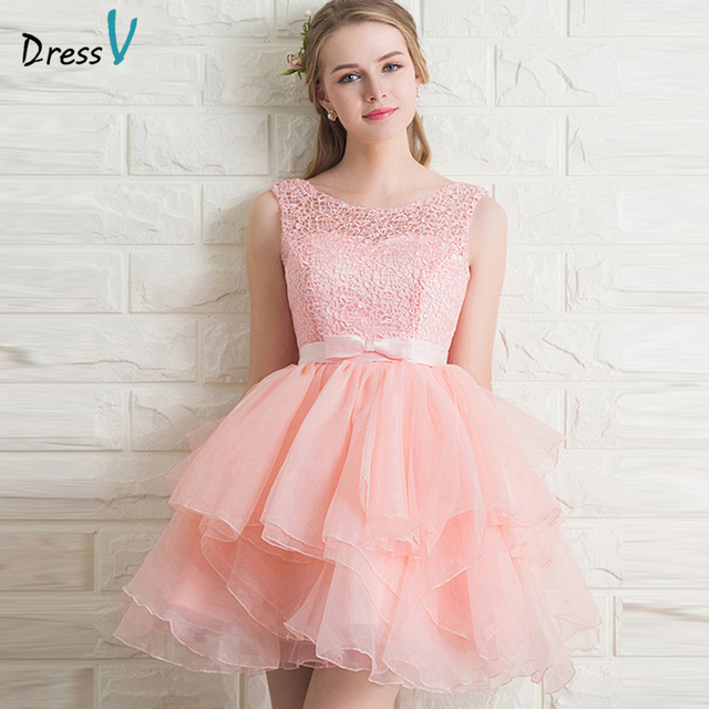 Dressv pink A-line short lace sleeveless homecoming dress scoop neck bowknot lace up mini/above knee homecoming&graduation dress