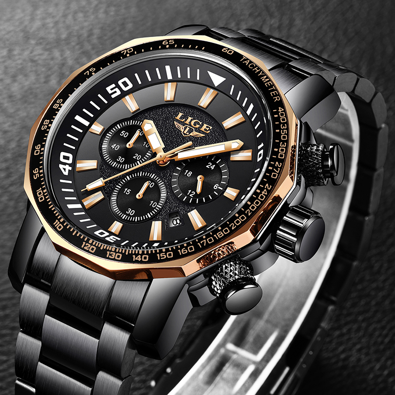 Relogio LIGE Mens Watches Top Brand Luxury Analog Quartz Watch Men All Steel Military Waterproof Sport Clock Relogio Masculino image