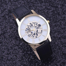 relogio masculin 1PC Street Style Luxury Men's Watches Fashion Rome Digital Faux Leather Hollow Dial Analog Quartz Watch Men