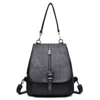 Softback Solid High Quality PU Leather Backpack Women Classic Designer School Bags For Teenagers Girls Luxury Women Backpacks