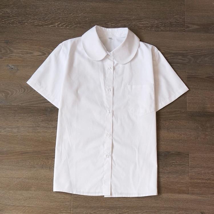 מדי בית הספר היפני JK חולצה עם שרוולים קצרים עם צווארון | חולצה אורתודוכסית ביפן | צווארון פיטר פן חמוד