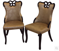 Stripe Printed Korean Eat Chair Hotel European Style Solid Wood Chair