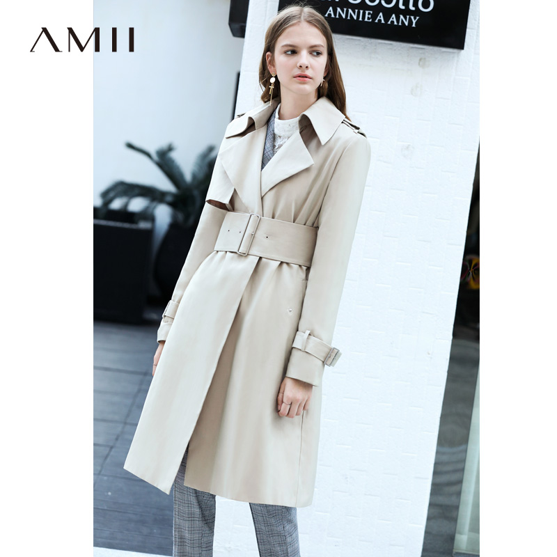Amii Women Minimalist 2019 Autumn   Trench   Coat Elegant Chic Office Lady High Quality Original Design Female   Trench   Coats