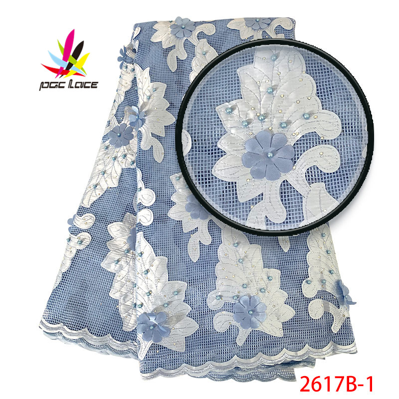 Cord Lace Fabric 2019 High Quality Sky Blue Color Lace Fabric Beautifulble Nigerian Women Lace Fabrics