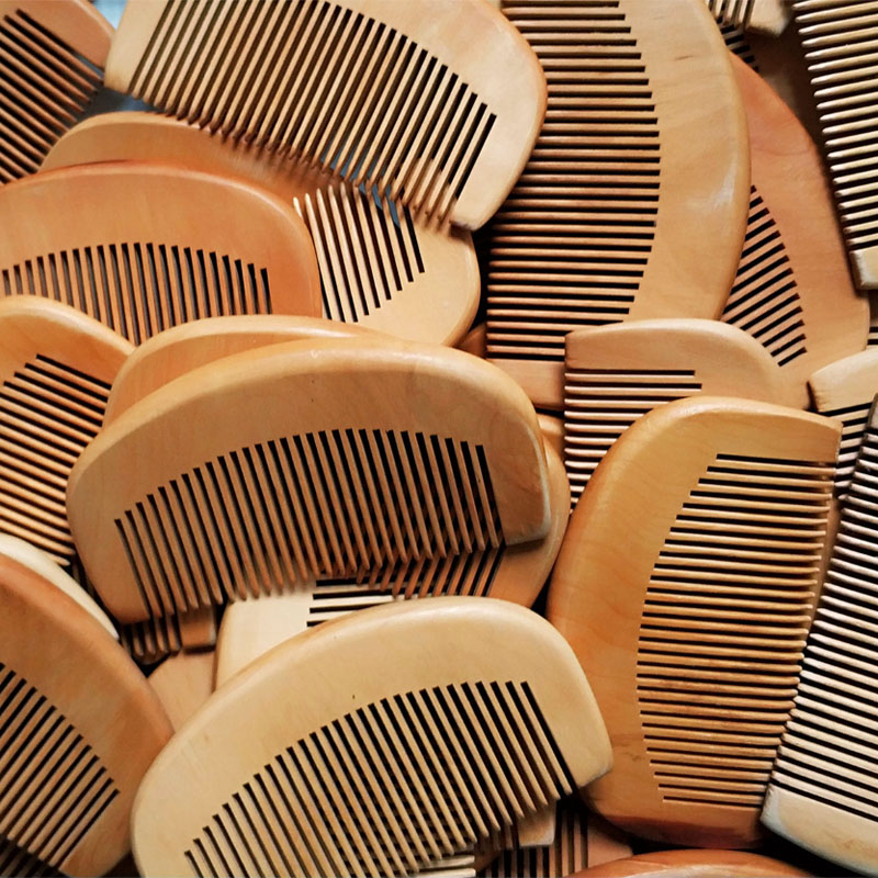 100pcs Lot Customized Engraved Your Logo Natural Peach Wooden Fine Tooth Comb Beard Comb Pocket Comb