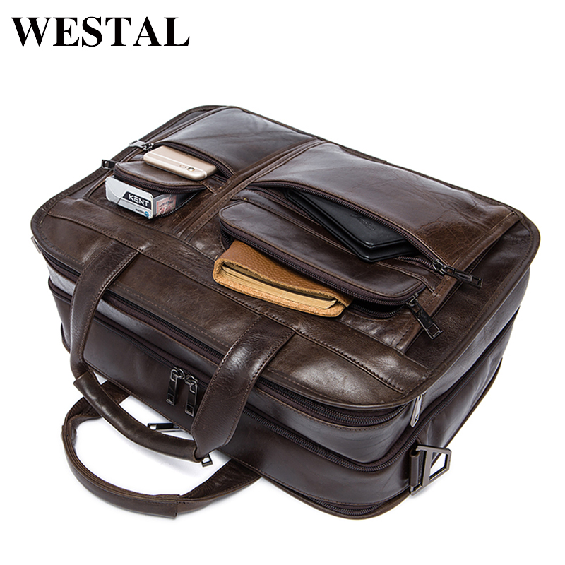 WESTAL Messenger Bag Men s shoulder bag Genuine leather Male man Briefcases laptop big Men s