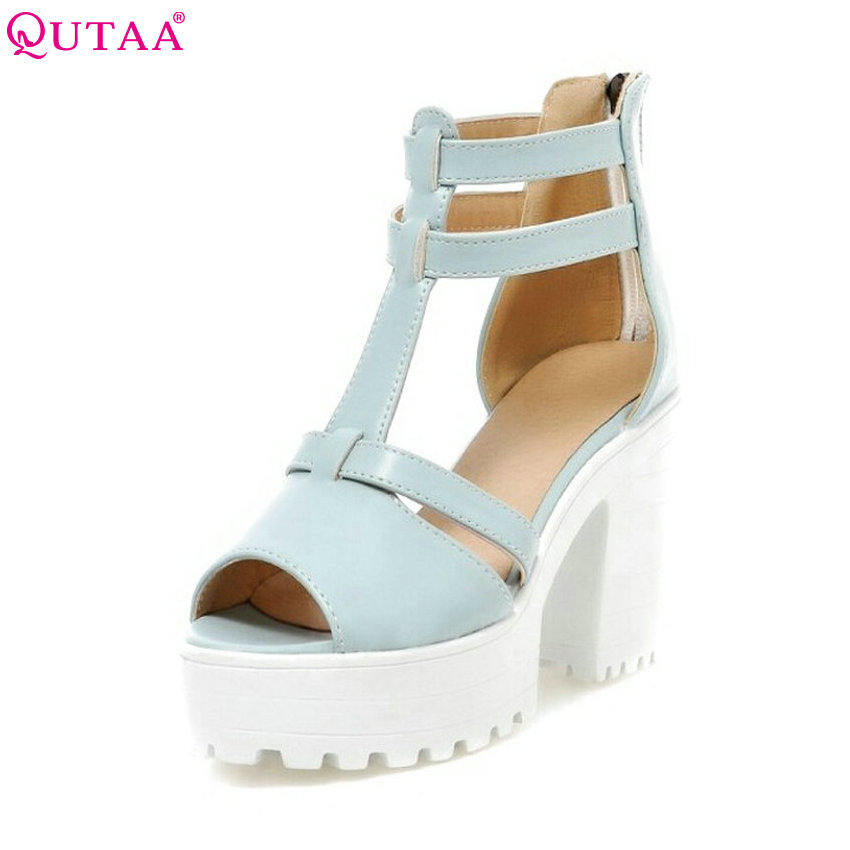QUTAA 2017 Platform Sandals High heel Ankle Wrap Shoes New Women Fashion PU Casual Summer Sandals