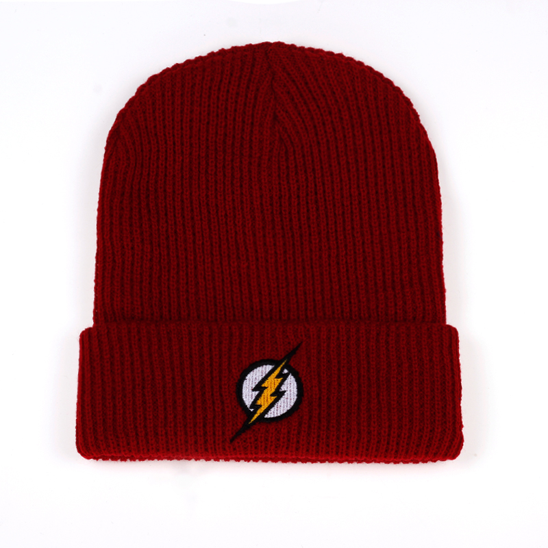 Winter Hat Beanies Skullies Knitted Hat Flash Hero Barry Allen Embroid Knitting Winter Hat Warm Hip-Hop Cap Christmas Gift