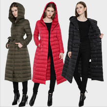 2016 Winter Autumn New Down Coat Female Long Over-the-knee Slim With A Hood Thin Plus Size Clothing Duck Down Jacket Women Parka