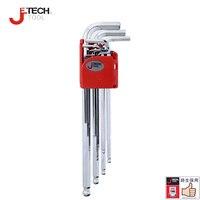 Jetech conjunto de chaves hexagonais métricas  9 peças  braço extra longo  ferramenta de alto tipos conjunto de chave kit 1.5-10mm